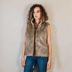 Y2K Reversible Faux Fur/Coffee Brown Vest